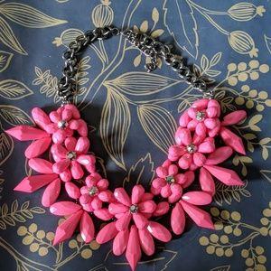 Beaded nwot hot pink floral crystal necklace